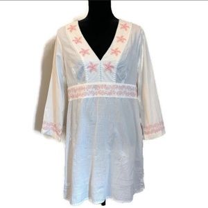 Vineyard Vines coverup coral starfish embroidered